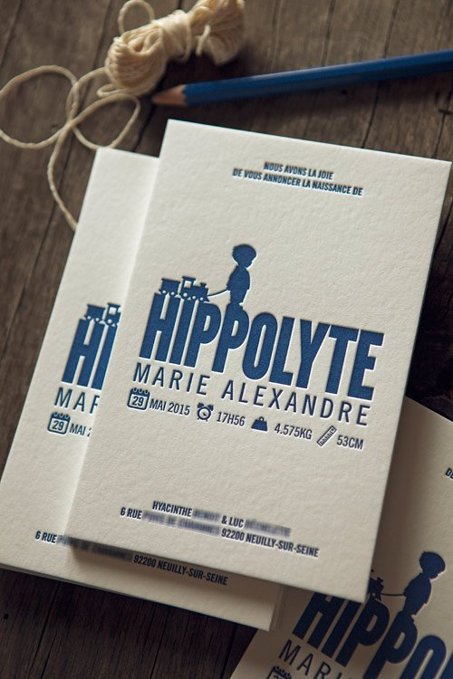 Faire-part de naissance Hippolyte / letterpress birth announcement printed by Cocorico Letterpress
