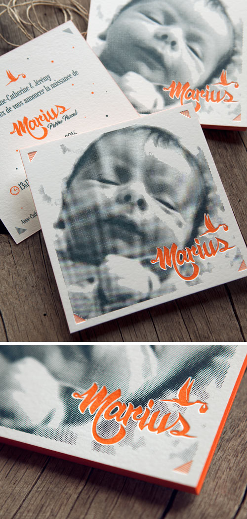 Carte de naissance avec image tramée et impression en 2 couleurs recto verso / Letterpress printed birth announcement card with half-tone baby picture / design by Jérémy Laurent