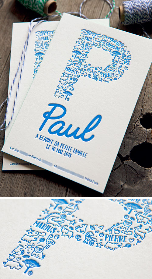Pour un petit Paul qui vient agrandir la famille / Baby boy birth announcement card printed in electric blue by Cocorico Letterpress