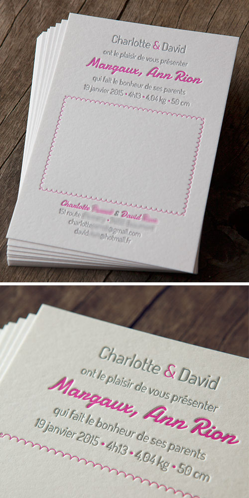 Faire-part de naissance 2 couleurs sur papier buvard 500g // letterpress birth announcement in pink / design Stéphane Flutet