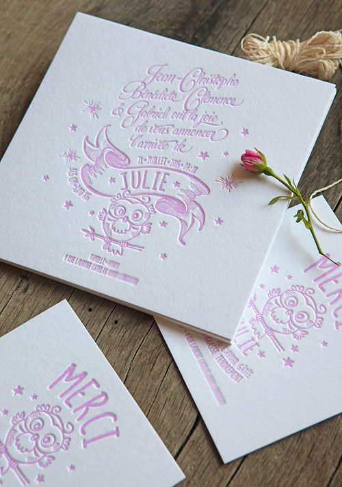 Faire-part de naissance rose pastel / letterpress birth announcement in pastel pink by Cocorico Letterpress