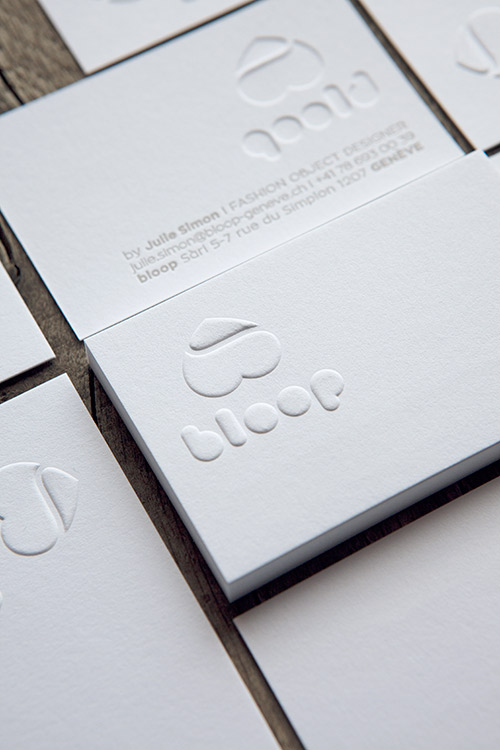 Cartes De Visite En Gaufrage Pour Une Designer Sur Papier Coton Letterpress Business Cards With Pin It Bloop
