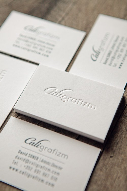 Carte De Visite Caligrafizm Recto Verso Sur Papier Gmund Cotton Letterpress Business Cards Printed Onto