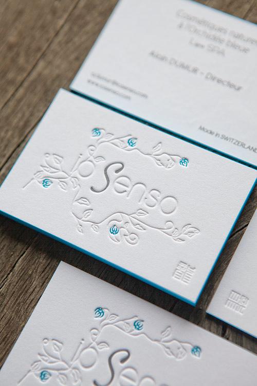 Carte De Visite Recto Verso Sur Papier Coton Extra Blanc Avec Tranche Coloree Business Cards