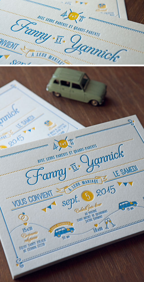 Faire-part de mariage aux couleurs pop jaune et bleu / letterpress wedding invite in a blue and yellow duo
