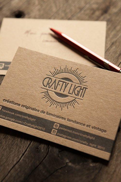 Carte De Correspondance Sur Carton Francais Coleur Sable Kraft Letterpress Correspondence Cards Printed Onto