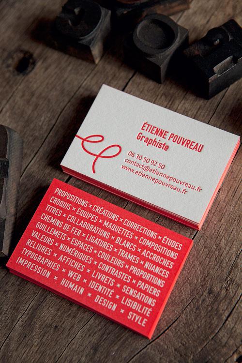 Cartes De Visite Rouge Pantone Design Etienne Pouvreau