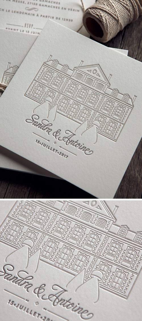 Invitation de mariage créée pour Sandra & Antoine / Custom wedding letterpress invites by by Cocorico Letterpress