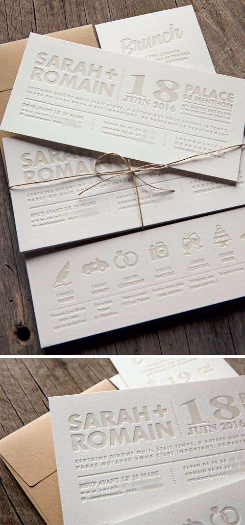Ensemble Personnalisable De Cartons Mariage Et Brunch Typographies Customizable Letterpress Wedding Invite With Bold